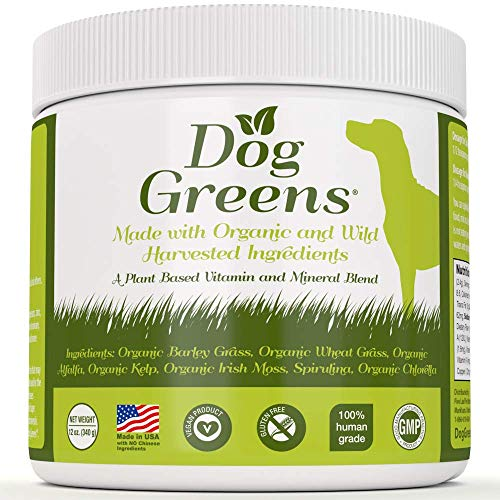 Dog Greens- Organic and Wild Harvested Vitamin and Mineral Supplement for Dogs - Add to Home Made Dog Food, RAW Food or Kibble - No Hassle-30 Day!