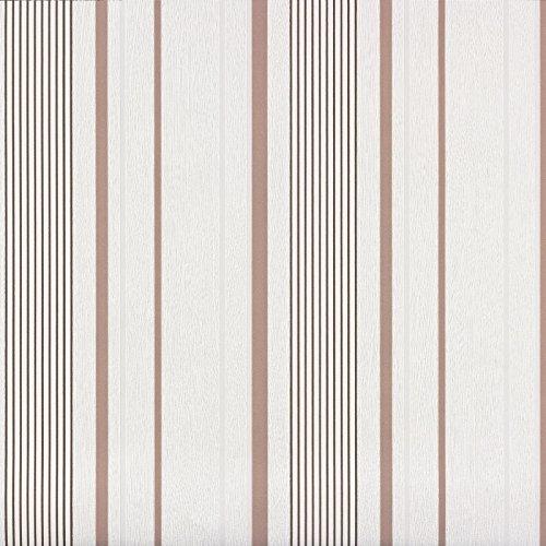 Vliestapete Streifen weiß braun Avenzio 93815-1