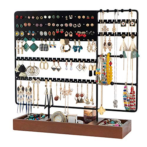 Earring Holder Stand 130 Holes Jewelry Stand Earring Holder Earring Organizer Ear Stud Holder Jewelry Organizer Jewelry Holder Tower Rack with Wooden Tray for Earring & Bracelet Necklace Ring