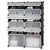 LANGRIA Penderie Etagère à Chaussures Modulable DIY 12 Cubes, Meuble Rangement avec Modules en Plastique, 2 Cubes Grands et 10...