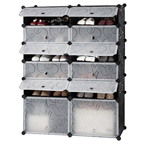 LANGRIA Estantería Zapatero Modular DIY 12 Cubos, Armario Grande Rectangular, Almacenamiento para Baño Habitación Salón Garaje, Blanco y Negro con Estampado