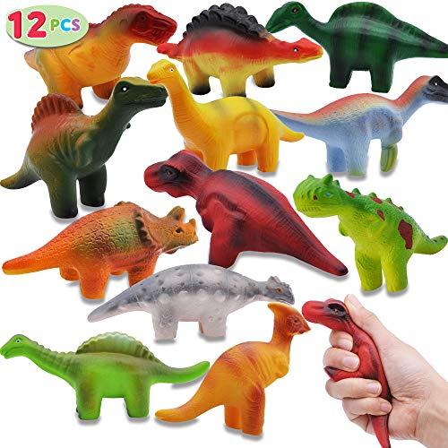 JOYIN 12 Pieces Dinosaur Squishy Toys Set for Slow Rising Stress Relief Super Soft Squeeze Dinosaur Toys