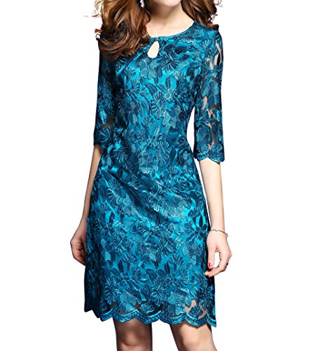 Women's Premium Blue Floral Lace 1/2 Sleeve Cocktail Party Mini Dress