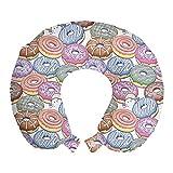 ABAKUHAUS Rosquilla Cojín de Viaje para Soporte de Cuello, Arte de la Historieta Donuts Sabrosa, de Espuma con Memoria y Funda Estampada, 30x30 cm, Multicolor