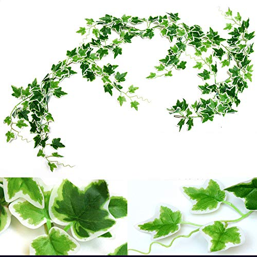 12 Strands Artificial Ivy Leaf Plants Garland Fake Hanging Leaves Green for Wedding Party Garden Outdoor Greenery Wall Decoration 70 inch/pcs (3, Green)