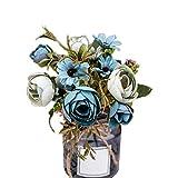 lamta1k Rama Decoraci¨®n de Flores Artificiales Toque Real para Interior Oficina Exterior en el hogar Colores Vibrantes con un Toque Real. Boda en casa Oficina del Hotel Jard¨ªn Decoraci¨®n - Azul