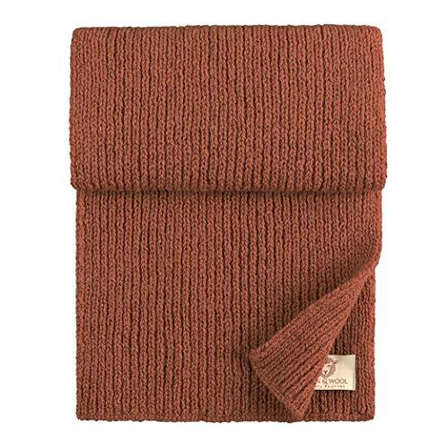 Linen & Cotton Sciarpa a Maglia Uomo Oslo, 100% Pura Lana Neozelandese - 25 x 180 cm (Terracotta)