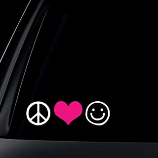 d215187f8d2 Peace Love Happiness with PINK Heart Car Decal / Sticker