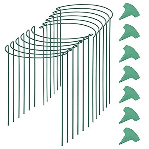 BOINN 12 Paquetes de 15.7 Pulgadas de Anillo de Soporte de Planta de JardíN Semicircular con 15 Piezas de Etiquetas de Planta, Soportes de Borde de Metal para JardíN