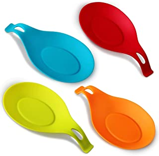iNeibo Kitchen Silicone Spoon Rest, Set of 4, (Colorful,Small Size)