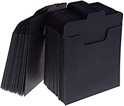 37YIMU 50 Pack CD Sleeves Kraft Paper DVD Envelopes, Black Blank CD Paper Cardboard, CD Kraft Paper Storage Holder Covers Packaging Sleeves - 4.9 x 4.9 Inch