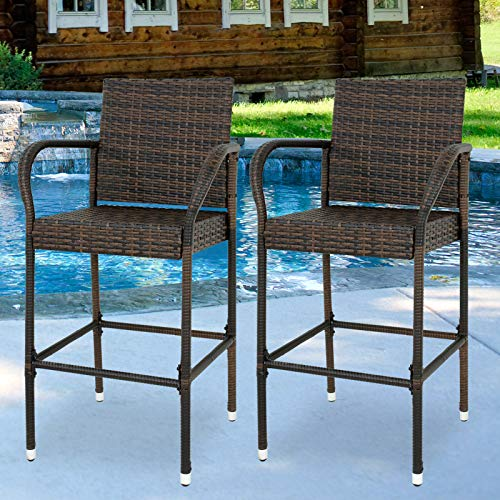 ZENY Set of 2 Wicker Barstool All Weather Dining Chairs Outdoor Patio Furniture Wicker Chairs Bar Stool with Armrest
