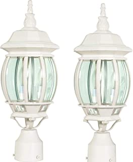 Nuvo 60 897 Post Lantern with Clear Beveled Panels, White (White - 2 Pack)
