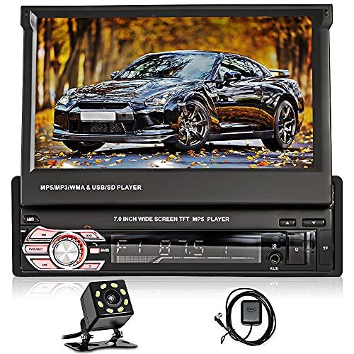 1 DIN Radio de Coche GPS Navegación, Hikity 7 Pulgadas Pantalla Táctil Autoradio Bluetooth con FM Enlace Espej Mandos Volantes Puerto TF/Puerto USB/Entrada AUX + Cámara Visión Trasera