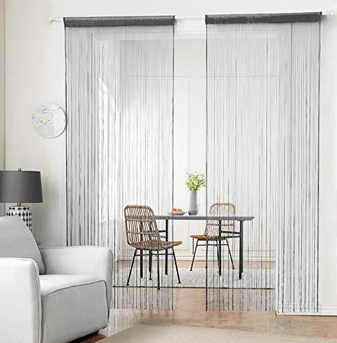 HSYLYM Stricken String Vorhang Panels Dicht Polyester Fringe Vorhang Fliegengitter Raumteiler für Tür Fenster Decor (Grau,90x245cm)