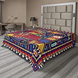 Lunarable Mexican Flat Sheet, Culture Pattern Colorful Art Abstract Snake in Vivid Folk Style, Soft Comfortable Top Sheet Decorative Bedding 1 Piece, King Size, Mustard Orange