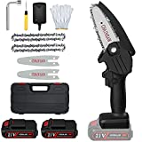 Mini Cordless Chainsaw Upgraded 4' Battery Powered Electric Chainsaw with Safety Lock, Portable Pruning Shears Chain Saw for Tree Trimming and Branch Wood Cutting(2 Batteries, Chains, Guide Plates)