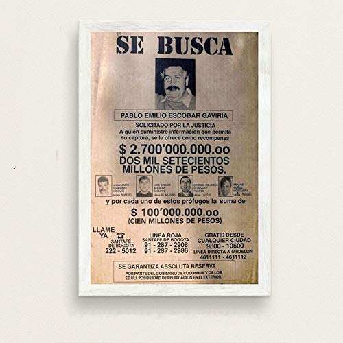 Pablo Escobar Hot Famous Art Schilderij Vintage Canvas Poster Wall Decor_40x60cm