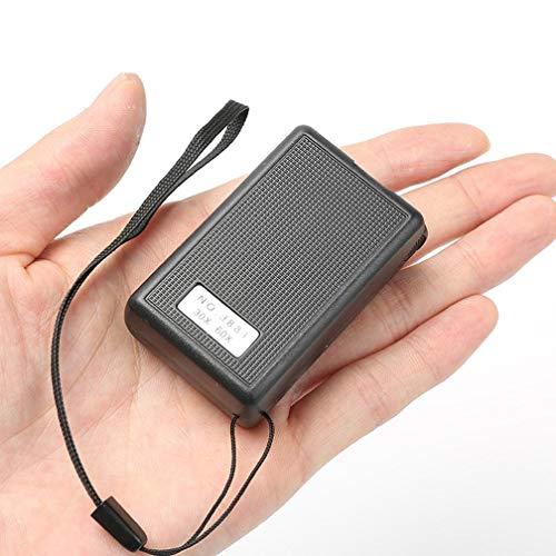 JUNYYANG Coin portátil de la Lupa 30X 60X Mini Lupa de Lectura de Mano portátil de pequeño Aumento Iluminado joyeros de la Lupa con luz UV Negro y Sello for Evaluación de detección de falsificaciones