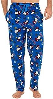 Image of Blue Festive Jolly Penguin Christmas Lounge Pants for Men - See More