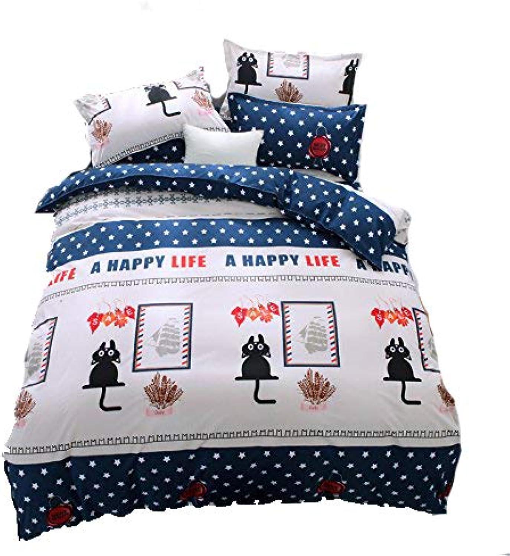 Kids Adult Bedding Sets 4pcs Set Bedsheet Duvet Cover Pillow Cases Twin Full Queen Size HM Forest Monkey Design (Queen, Black Cat)