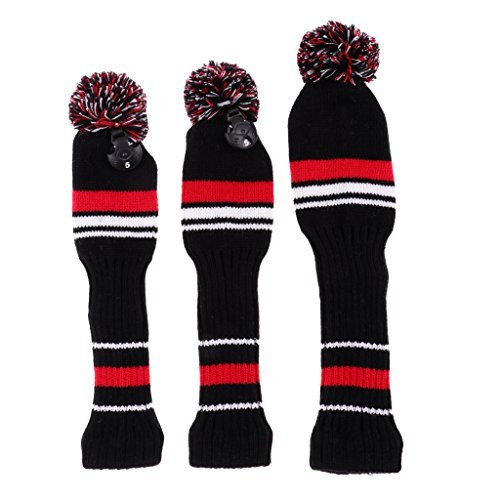 Sharplace 3 Stück Golf Schlägerhaube Headcover Golf Schläger Kopfbedeckung - Rot