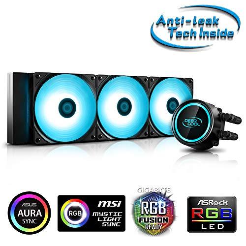 DeepCool Gammaxx L360 RGB V2 Kühlsystem, 360 mm Kühlkörper Dissipator RGB SYNC 12V 4-Pin kompatibel mit Intel 115X/2066 und AMD AM4