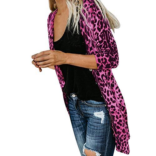 SHOBDW Mujeres de Manga Larga con Cuello en V Suelta Talla Grande Sexy Estampado de Leopardo Abrigo de Moda...