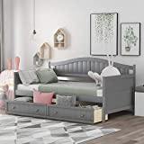 Twin Daybed with 2 Drawers, Wooden Sofa Bed for Bedroom Living Room, No Box Spring Needed (Twin Daybed with Drawers, Grey)