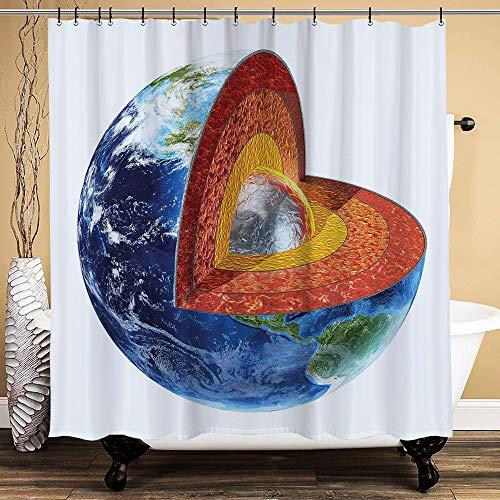 huagu Duschvorhang,Erdbild, das den inneren Kern-Geologie- und Wissenschaftsthemenplaneten-Globus-Druck zeigt,wasserdicht,150cmx180cm