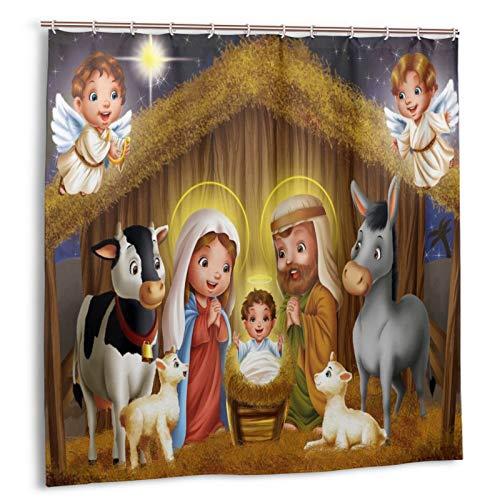 DZGlobal Duschvorhang mit weihnachtlichen Krippenmotiven, 72 x 72 cm, Bauernhof-Badevorhang mit Tieren, Kuh, Schaf, Esel, mit 12 Duschhaken