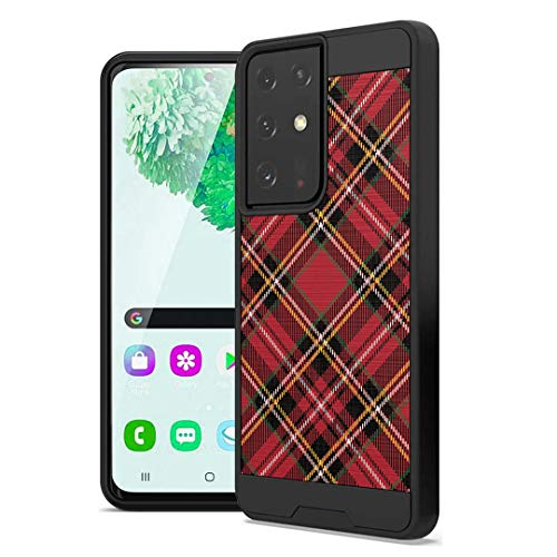 Ohiya Case Compatible with Galaxy S21 Ultra [Cute Brushed Texture Shockproof Slim Men Women Design Protective Black Case Cover] for Samsung Galaxy S21 Ultra 5G SM-G998 (Plaid Red)