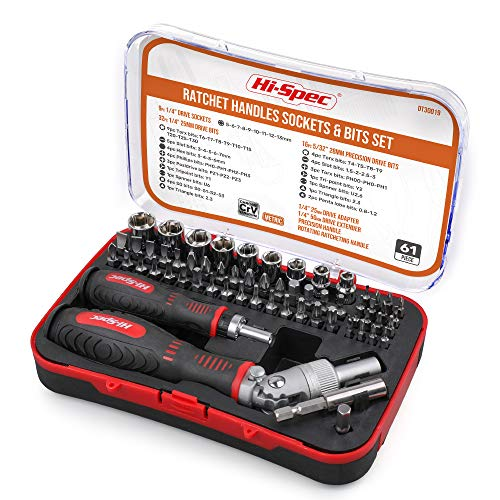 Hi-Spec 61 Piece Screw Driver Bits & Ratchet Handles Set with Sockets & Precision Bits. DIY Repair & Opening of Computers, Electronic Devices, Household Appliances & Furniture, Fixtures & Fittings
