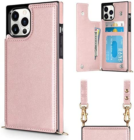 Vofolen Compatible with iPhone 12 Case Wallet 12 Pro 5G Card Holder Lanyard Neck Crossbody Detachable product image