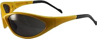 Global Vision Reflex Padded Motorcycle Safety Sunglasses Yellow Frame Smoke Lens ANSI Z87.1