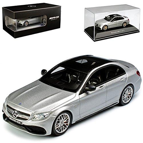 Spark Mercedes-Benz C-Klasse C63 S AMG Limousine Silber W205 Ab 2014 1/43 Modell Auto mit individiuellem Wunschkennzeichen