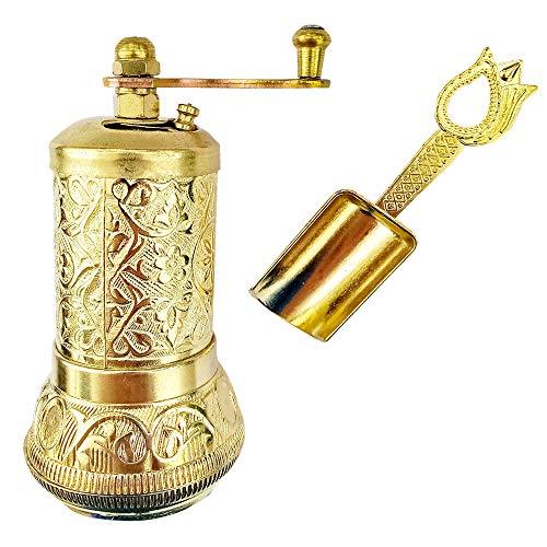Pepper Salt Coffee Grinder - 3 in One - Turkish Coffee Mill - with Spice Shovel Spoon - Salt Shaker - Zinc Alloy Casting Best Carving Metal - Adjustable Coarseness - Silver Color Design (Gold)