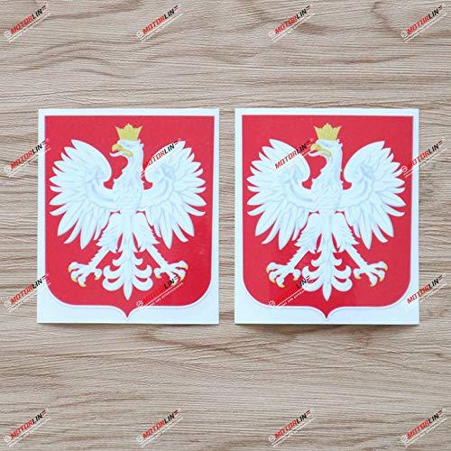 2 x glänzender Aufkleber mit Wappen von Polen, 10,2 cm, Polska Herb Polski, Vinyl