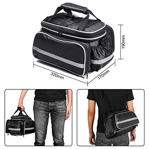 Fozela Fahrradtasche, Fahrrad Satteltasche Gepäcktasche Gepäckträger Tasche Rucksack Seitentasche mit wasserfester, reflektierender und Regenschutzdeckel - 2