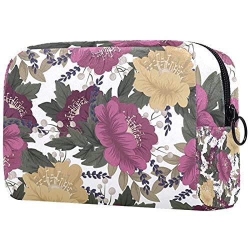 Bolsa de Maquillaje para Mujer, Bolsa de Almacenamiento de cosméticos Flor Vintage Amarillo Rosado para Viajes, Organizadora de cosméticos