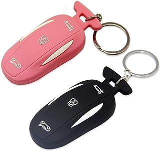 Sunower Silikon Autoschlüsselring, 2 Packungen Schlüsselanhänger Schutzhülle für Tesla Model X (Pink + Schwarz)