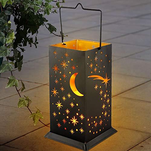 LED Solar Leuchte schwarz-gold Dekor Muster Garten Laterne Mond Sterne Außen Lampe