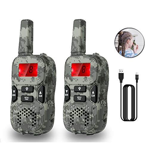 Camouflage Rechargeable Walkie Talkies for Kids Birthday Toys 4-12 Year Old Boys Girls
