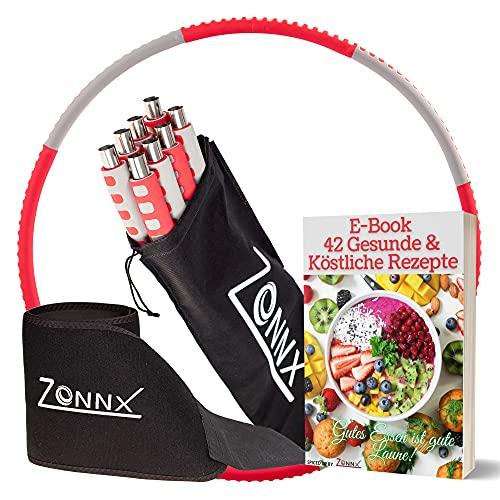 Zonnx Fitness Hula Hoop Reifen zum Abnehmen mit Bauchweggürtel/Sport Hula Hoop Reifen Erwachsene Anfänger und Pro mit einstellbares Gewicht/Edelstahlkern/E-Book und Tragetasche