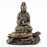 Veronese Top Collection - Figura pequeña de 16,5 cm de alto 14 cm de ancho de Guan Yin en loto de Pose Rising from the Sea on Turtle Figurine. Polvo de bronce mezclado con resina - Acabado de bronce con acentos de color.