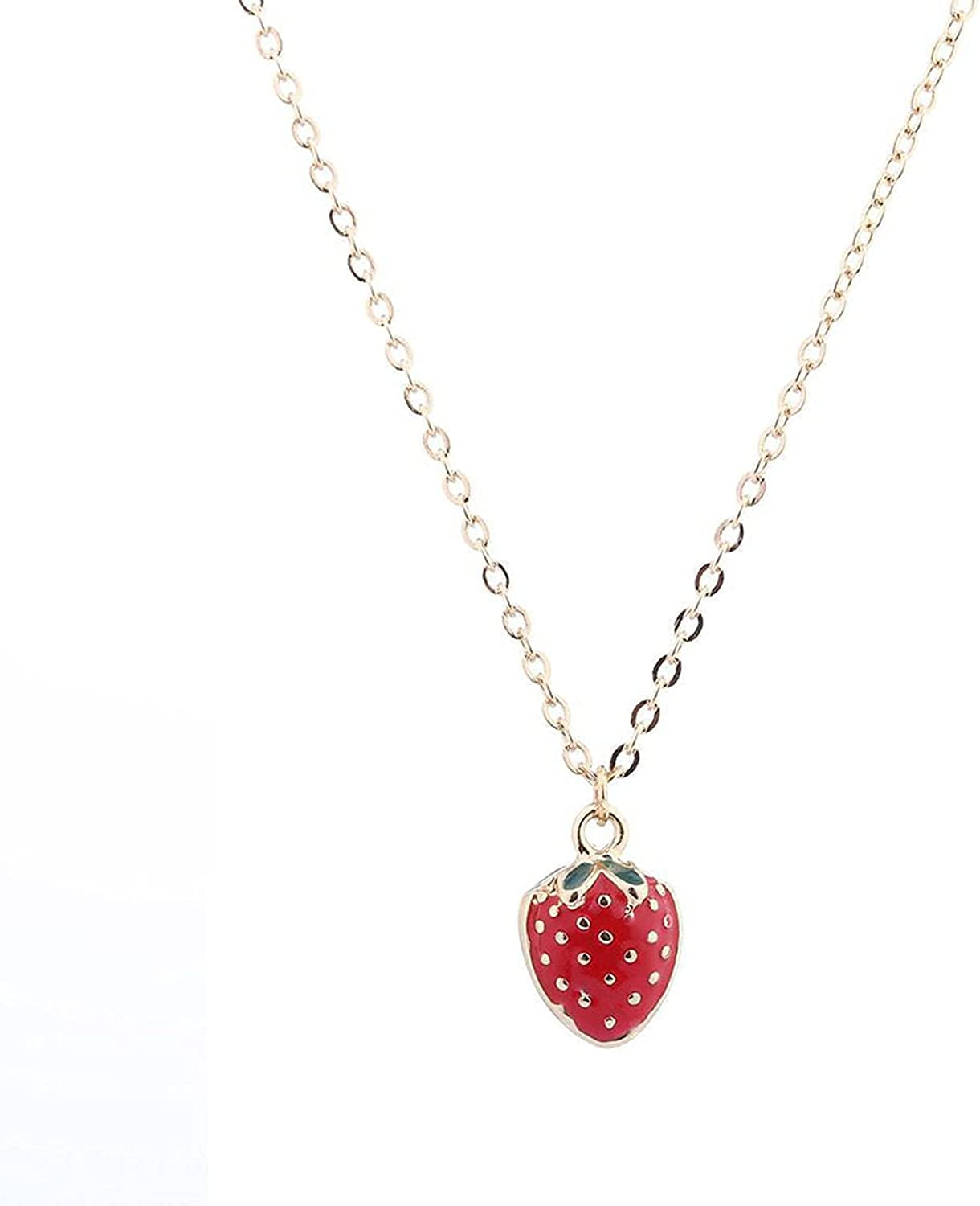 FUTIMELY 4 Pcs Strawberry Jewelry Set for Women Teen Girls Red Strawberry Necklace, Strawberry Earrings, Strawberry Ring, Strawberry Bracelet Cute Food Fruit Charm Jewelry Gift
