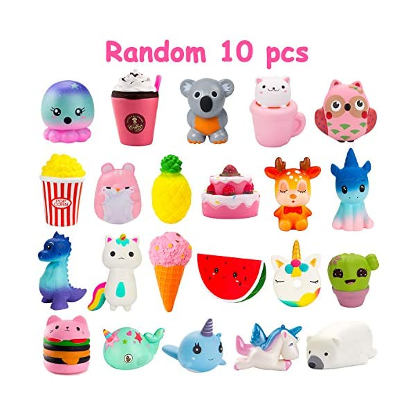 BeYumi Slow Rising Toy, Unicorn, Panda, Deer, Cat Squishy Toy, Kawaii Jumbo 10 Pcs Cream Scented Simulation Cute Animal & Food Squeeze Toys for Collection Gift, Decorative props Large or Stress Relief 6