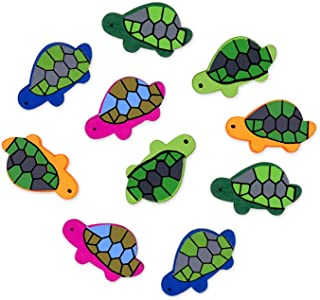 Wood Painted Turtle Shaped Craft Deco Beads 10 Count - 1.25 Inch Across