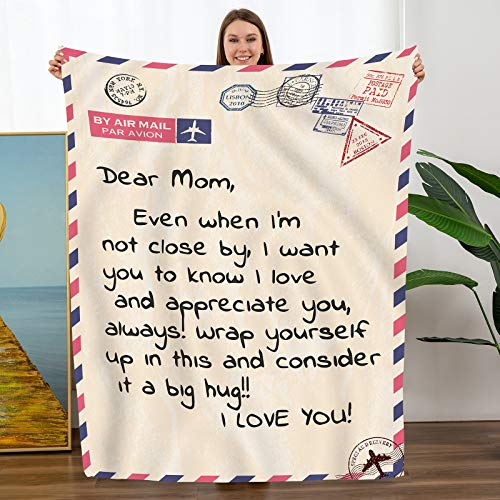 TURMTF Personalized Flannel Blanket to My Mom from Daughter Son Gift Christmas Birthday Mother Day's Healing Thoughts Throws (Yellow, to My Mom)