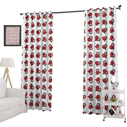 YUAZHOQI Skull Blackout Curtains for BedroomVibrant Skeleton Patterns Inside Ornate Gothic Victorian Style Red Hearts Blackout Curtains for Kids Bedroom 52' x 84', Ruby Red Black White